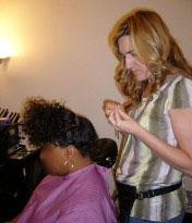 Morgan installing Electra's Hairlocs™.