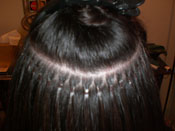 Hairlocs™ installed row - close view